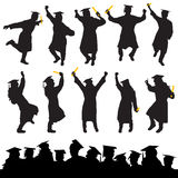 Graduation vector. Set of graduation silhouettes vector Royalty Free Stock Images