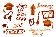 Graduation Vector Set | Let's Celebrate Royalty Free Stock Image