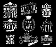 Graduation wishes overlays labels set. Monochrome graduate class of 2018 badges. Graduation wishes monochrome overlays, lettering labels design set. Retro Stock Images