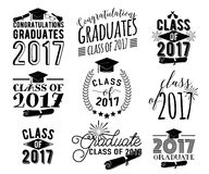 Graduation wishes overlays labels set. Monochrome graduate class of 2017 badges. Graduation wishes monochrome overlays, lettering labels design set. Retro Royalty Free Stock Image