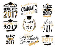 Graduation wishes overlays, labels set. Retro graduate class of 2017 badges. Graduation wishes overlays, lettering labels design set. Retro graduate class of Stock Photos