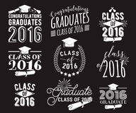 Graduation wishes overlays, lettering labels design set. Monochrome  graduate class of 2016 badges. Emblem with sunburst. Graduation wishes monochrome overlays Stock Photo