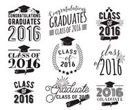 Graduation wishes overlays, lettering labels design set. Monochrome  graduate class of 2016 badges. Emblem with sunburst Royalty Free Stock Images