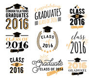 Graduation wishes overlays, lettering labels design set. Retro graduate class of 2016 badges. Hand drawn emblem. With sunburst, hat, diploma, bell. Isolated Stock Photography