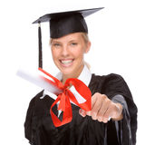 Graduation woman. Full isolated studio picture from a young graduation woman Stock Image