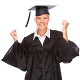 Graduation woman. Full isolated studio picture from a young graduation woman Royalty Free Stock Image