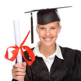 Graduation woman. Full isolated studio picture from a young graduation woman Stock Photos