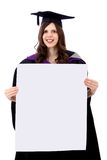 Graduation woman with a banner Royalty Free Stock Photo