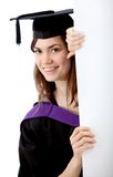 Graduation woman with a banner Stock Photo