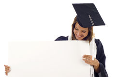 Graduation woman with a banner Royalty Free Stock Image
