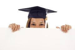 Graduation woman with a banner Stock Images