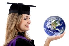 Graduation woman holding earth Royalty Free Stock Photo
