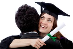 Graduation woman hugging a man Royalty Free Stock Photo