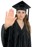 Graduation woman showing stop gesture Stock Photos