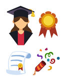 Graduation woman silhouette uniform avatar vector illustration. Student education college success character with diploma Royalty Free Stock Images