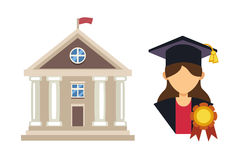 Graduation woman silhouette uniform avatar vector illustration. Student education college success character. School. Icon and university building vector Royalty Free Stock Images