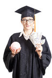 Graduation woman student with eyeglasses holding dollars money a Stock Photography
