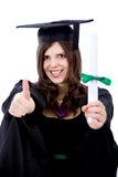 Graduation woman with thumbs up Stock Photo