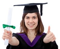 Graduation woman with thumbs up Stock Photos