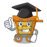 Graduation wooden trolley character cartoon. Vector illustration royalty free illustration