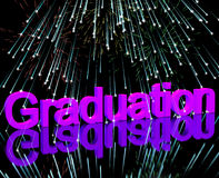 Graduation Word With Fireworks Showing School Or University Grad. Graduation Word With Fireworks Shows School Or University Graduation Stock Photography