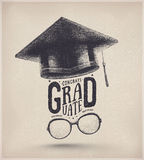 Graduation Year. Congratulations on graduation, graduate cap and glasses, eps 10 stock illustration