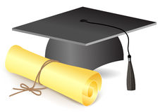 Graduations hat and degree Royalty Free Stock Images