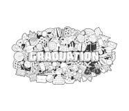 Graduazione - iscrizione della mano e schizzo degli elementi di scarabocchi Illustrazione Vettoriale