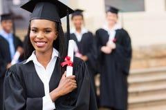 Graduazione laureata dell'Africano Fotografie Stock Libere da Diritti