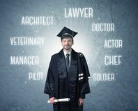 Graduete person looking for professions stock photography