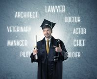 Graduete person looking for professions royalty free stock image
