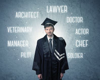 Graduete person looking for professions Royalty Free Stock Photos