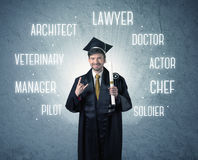 Graduete person looking for professions Royalty Free Stock Photography