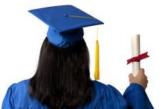 Graduiertes Holding-Diplom gesehen von hinten Stockfotografie