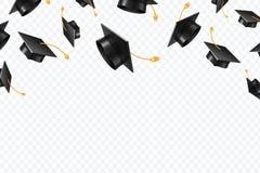 Graduiertes Kappenfliegen Schwarze akademische Hüte in einer Luft Ausbildung lokalisiertes Vektorkonzept stock abbildung