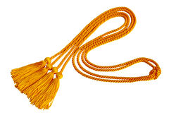 Gradution cord. Curvy Graduation honor cord isolated on white background stock images