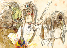 Graeae (stygische Hexen) stock abbildung