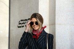 Graeff invierno 2015 2016 del otoño del streetstyle de la semana de la moda de Milano, Milano de Martha Fotos de archivo