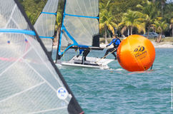 Grael leads around the mark at the 2013 iSAF World Sailing Cup in Miami Stock Photography