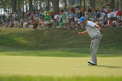 Graeme McDowell makes a putt at Ryder Cup. Graeme McDowell putting for European team at Ryder Cup Stock Image