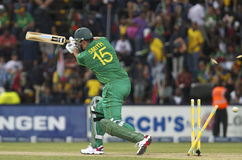 Graeme Smith Bowled Out. In the India ODI 15 Jan 2011 India Narrowly winning the game as South Africa Swing for the Bit Hits Play at the wanderers stadium in Royalty Free Stock Image