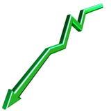Graen 3D arrow. Green 3D arrow isolated on white background Stock Photos