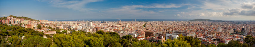 Graet panoramic view of Barcelona Royalty Free Stock Images