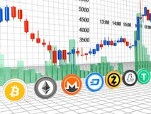 Graf av Crypto-valuta Royaltyfri Fotografi
