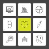 graf byggnader, pajdiagram, medicin, hjärta, gunstling, royaltyfri illustrationer