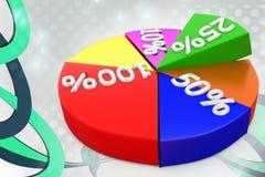 graf 3d med procentillustrationen Royaltyfria Bilder