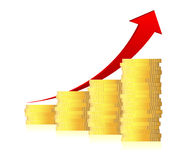 graf för affär 3d med pilen och mynt Royaltyfri Fotografi