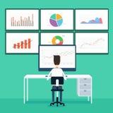 graf för affär för analytics för affärsfolk och seo på bildskärm Arkivbild