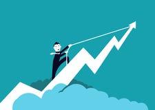Graf för affärsmanbesparingtillväxt. Arkivbilder
