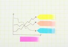 Graf för blyertspennateckning på papper Fotografering för Bildbyråer